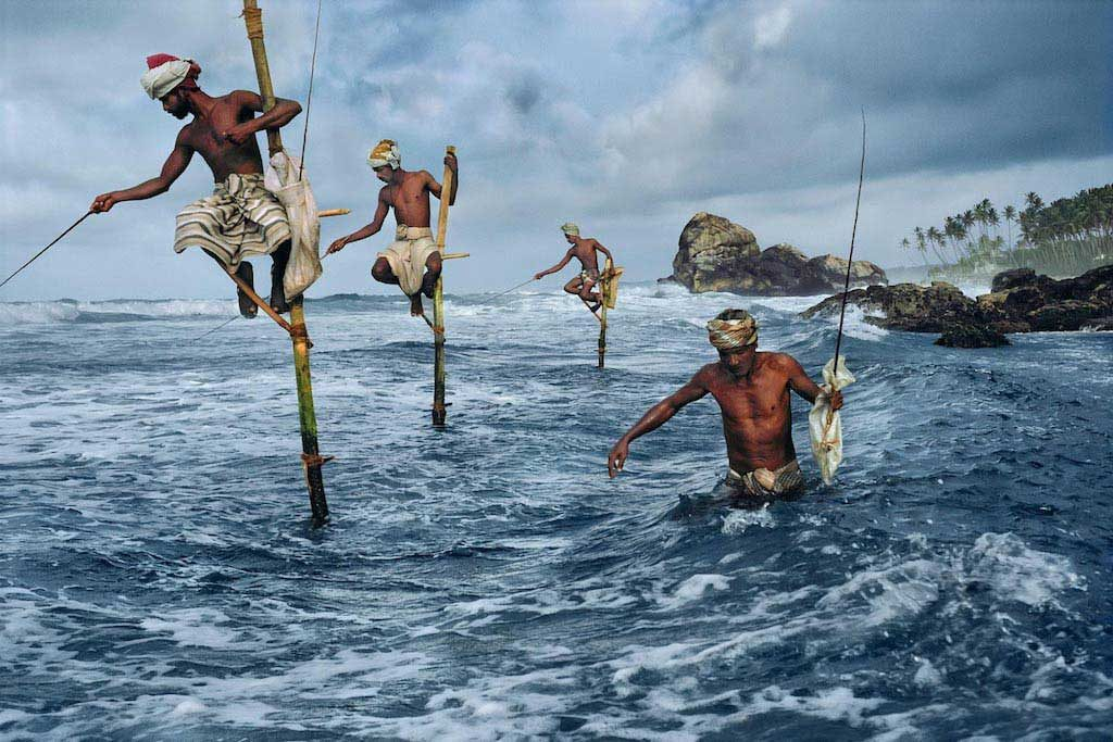 Traditional age-old fishing scene in Sri Lanka